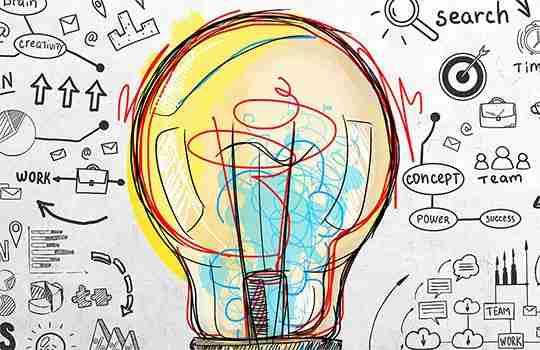 illustration of a bright yellow light bulb surrounded by hand drawn images and text representing idea generation techniques.