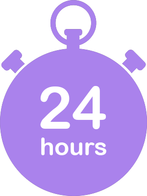 large illustration purple stopwatch with text 24 hours representing the time for implementation of the innovation management software of Wide Ideas for Microsoft Teams.