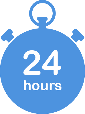 large illustration blue stopwatch with 24 hours in the centre to show the turnaround time for implementation of the idea management software of Wide Ideas.