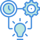 illustration blue and green with clock, cog and lightbulb showing improve productivity levels of people.
