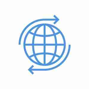 large illustration blue of the world with arrows going around to show the multi-site bridge feature of the idea management software of Wide Ideas.