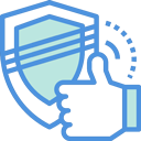 illustration blue and green shield to show security met requirements.