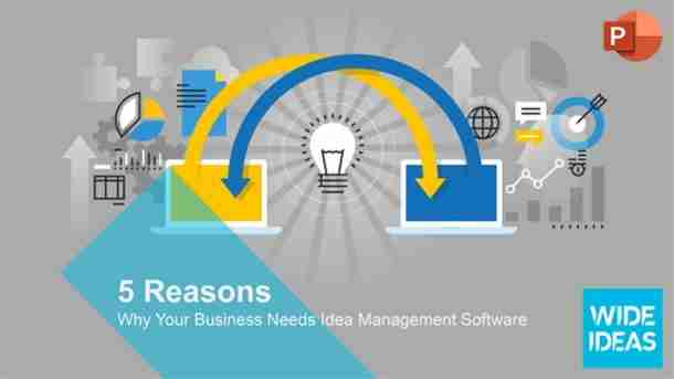 Twitter social share image showing two computers sharing ideas, representing the need for Idea Management Software.
