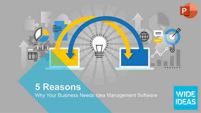 Presentation image showing two computers sharing ideas, representing the need for Idea Management Software.