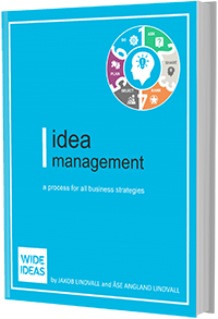blue ebook cover mockup of the Wide Ideas Idea Management Process.