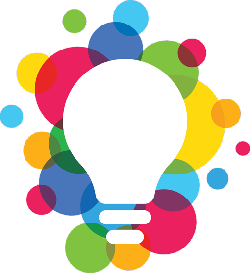 lightbulb surrounded by lot of coloured circles.
