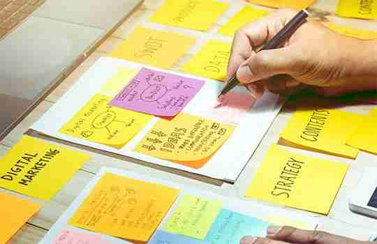 person writing up business plan on post-it notes