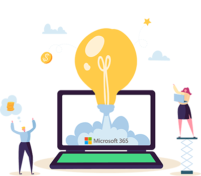 illustration image of a happy man and woman around a laptop with a lightbulb showing how idea management software from Wide Ideas integrated with Microsoft 365 provides benefits.