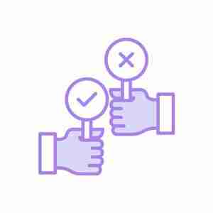large illustration purple of two hands holding yes and no paddles representing the Decision Analysis Tool of the software for ideas of Wide Ideas with Microsoft Teams.