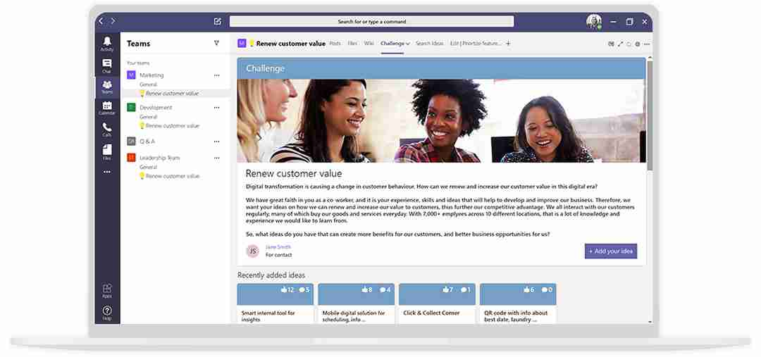 Screenshot of the Wide Ideas innovation management software integrating with Microsoft Teams on an illustrated laptop.