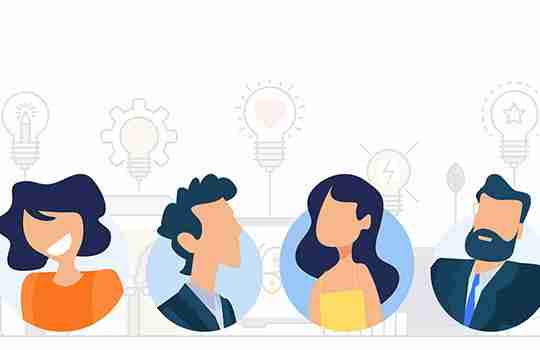 illustration heads showing the 4 characteristics of innovation