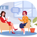 illustration of a woman boss listening to idea feedback from an emaployee