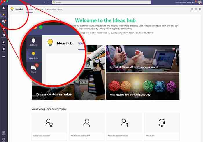 image of Wide Ideas ideas hub integrated with Microsoft Teams