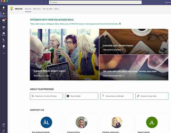 image of Wide Ideas ideas hub contact details that is integrated with Microsoft Teams