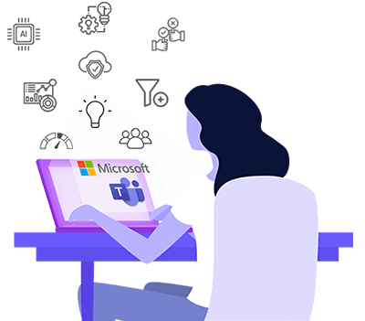 illustration of a woman sat at computer using innovation management software through Microsoft Teams.