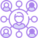 illustration purple of multi-racial people working together in different teams.