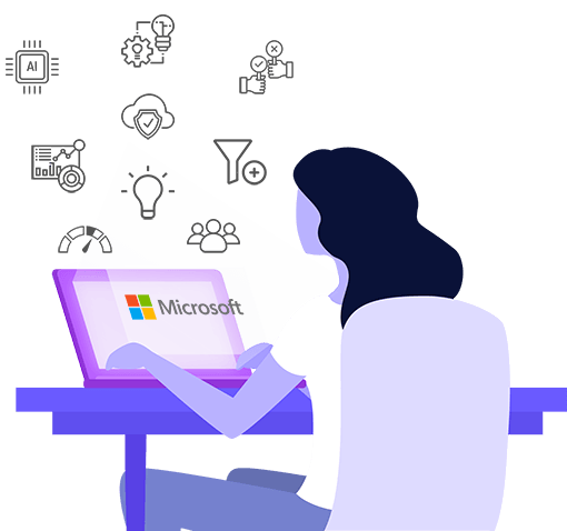 illustration of woman looking at the features of the open innovation software through Microsoft 365