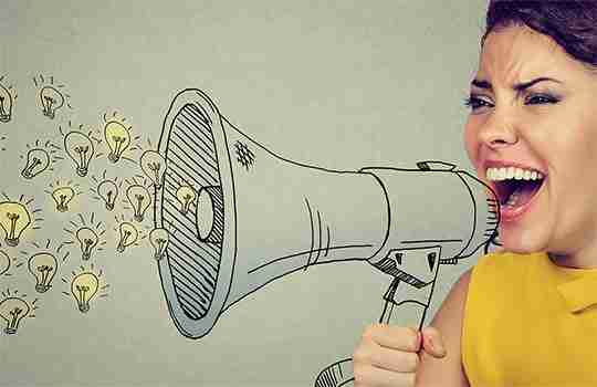 woman shouting into a hand drawn megaphone giving feedback on idea