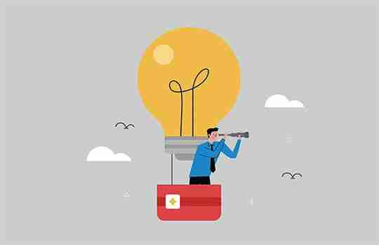 illustration of a man in a hot air balloon searching for the value of an idea
