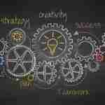 cogs in chalk on a blackboard showing the workings of a business innovation strategy